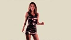 Beautiful model disco dance Stock Footage