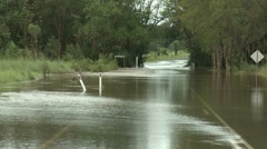 Flood Waters Cover Road After Cyclone In Australia Stock Footage