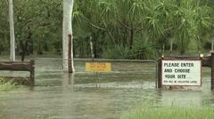 Flash Flood In Australia Swamps Recreation Area Stock Footage