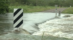 Flash Flood Cuts Off Road During Storm - stock footage