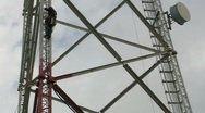 Stock Video Footage of Man working on TV -Radio Broadcast Antenna Tower 2