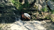 Stock Video Footage of Female hiker drinking water, refreshing in the forest stream HD