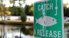 Catch and release sign at pond Stock Footage