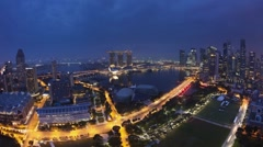 Central Business District & Marina Bay Sands Hotel Singapore Stock Footage