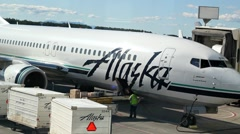 Alaska Airlines Baggage Handling Stock Footage