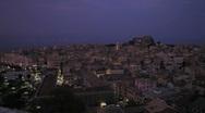 Aerial view with St. Spyridon church at night, Kerkyra, Corfu island, Greece Stock Footage