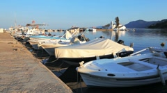 Boats in small harbor near Vlacherna monastery, Kanoni, Corfu, Greece Stock Footage