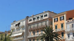 Typical buildings in old city, Kerkyra, Corfu island, Greece Stock Footage