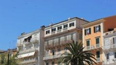Typical buildings in old city, Kerkyra, Corfu island, Greece Stock Footage