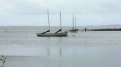 2 boats floating on the sea Stock Footage