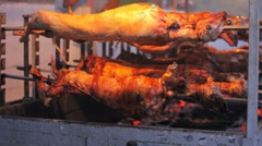 Lamb on skewer, preparing for holiday of Vlacherna monastery, Corfu, Greece Stock Footage