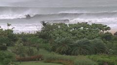 Hurricane Hits Coastal Resort Strong Winds And Rain Stock Footage