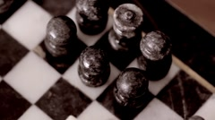 Old Marble Chess Game Set Dolly - stock footage