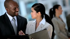 Multi Ethnic Business Team Meeting in Modern Building - stock footage