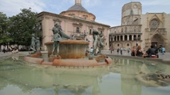 Turia Fountain Valencia Stock Footage