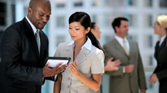 Multi Ethnic Business Team Receiving Good News - stock footage