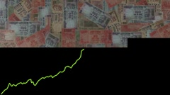 Line graph over scrolling Rupees animation Stock Footage