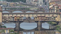 Old Bridge in Florence city, Italy Stock Footage