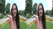 Stock Video Footage of 3D Young woman in the garden