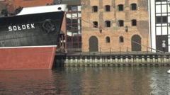 Boats in medieval port in Gdansk, Poland Stock Footage