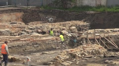 Man working on archaeological site - stock footage