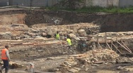 Man working on archaeological site Stock Footage