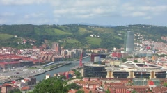 HD: Bilbao city panorama with Guggenheim Stock Footage