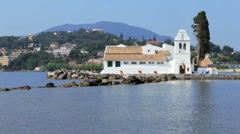 Vlacherna monastery, Kanoni, Corfu, Greece Stock Footage