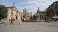 Stock Video Footage of Valencia Virgin Square