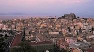 Aerial view with St. Spyridon church before sunset, Kerkyra, Corfu, Greece Stock Footage