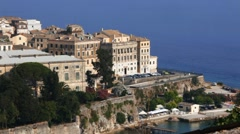 Aerial view from Old fortress on the city, Kerkyra, Corfu island, Greece - stock footage
