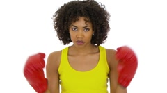 Woman shadowboxing Stock Footage