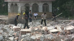 China, demolition site, workers, human rights, health concerns, supervisor - stock footage