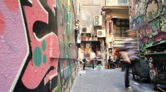 Pedestrians in Melbourne Alley 4K Stock Footage