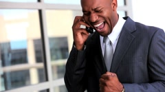 Ethnic Business Executive Receiving Good News Stock Footage