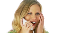 Excited woman talking on phone Stock Footage