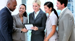 Multi Ethnic Business Team With Wireless Technology Stock Footage