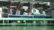 Chinese factory producing washing machines Stock Footage