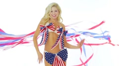 Woman in patriotic bikini - stock footage