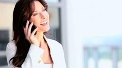 Businesswoman Receiving Good News on Smartphone Stock Footage
