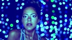 Beautful girl dance light colors Stock Footage