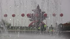 Qingdao monument, father and child, water fountain, China Stock Footage