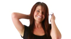 Closeup of sexy young woman dancing on white background Stock Footage