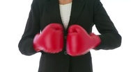 Businesswoman boxing Stock Footage