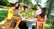 Stock Video Footage of Family Generations Sharing Healthy Lunch