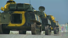 Tanks on the move. - stock footage