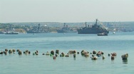 Warships in the harbor. Stock Footage