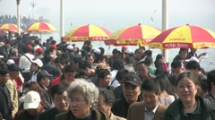 Crowded busy tourist area in China Stock Footage