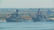 Stock Video Footage of Day of Russian Navy. Warships in Sevastopol Bay.