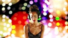 Super sexy female dj playing records nightclub Stock Footage